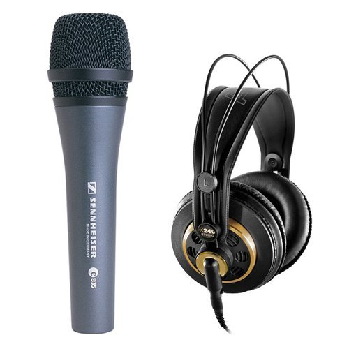 Sennheiser e 835 Cardioid Handheld Dynamic Microphone with AKG K 240 Studio Professional Stereo Headphones by Sennheiser