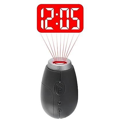 Reloj de proyección, Mini portátil LED Reloj Digital Proyector Linterna con Llavero (Gris)