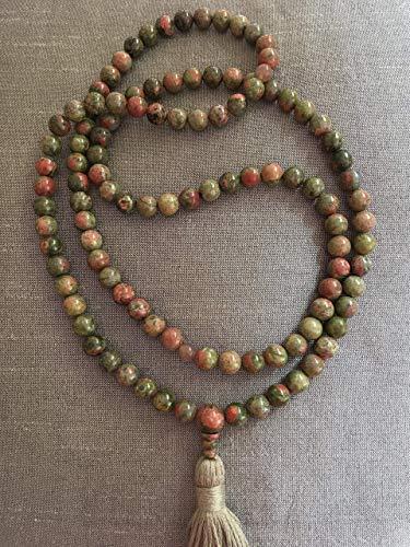 Unakite and Moonstone Mala 108 Beads // Mala Necklace // Prayer Beads // Tassel Mala // Meditation