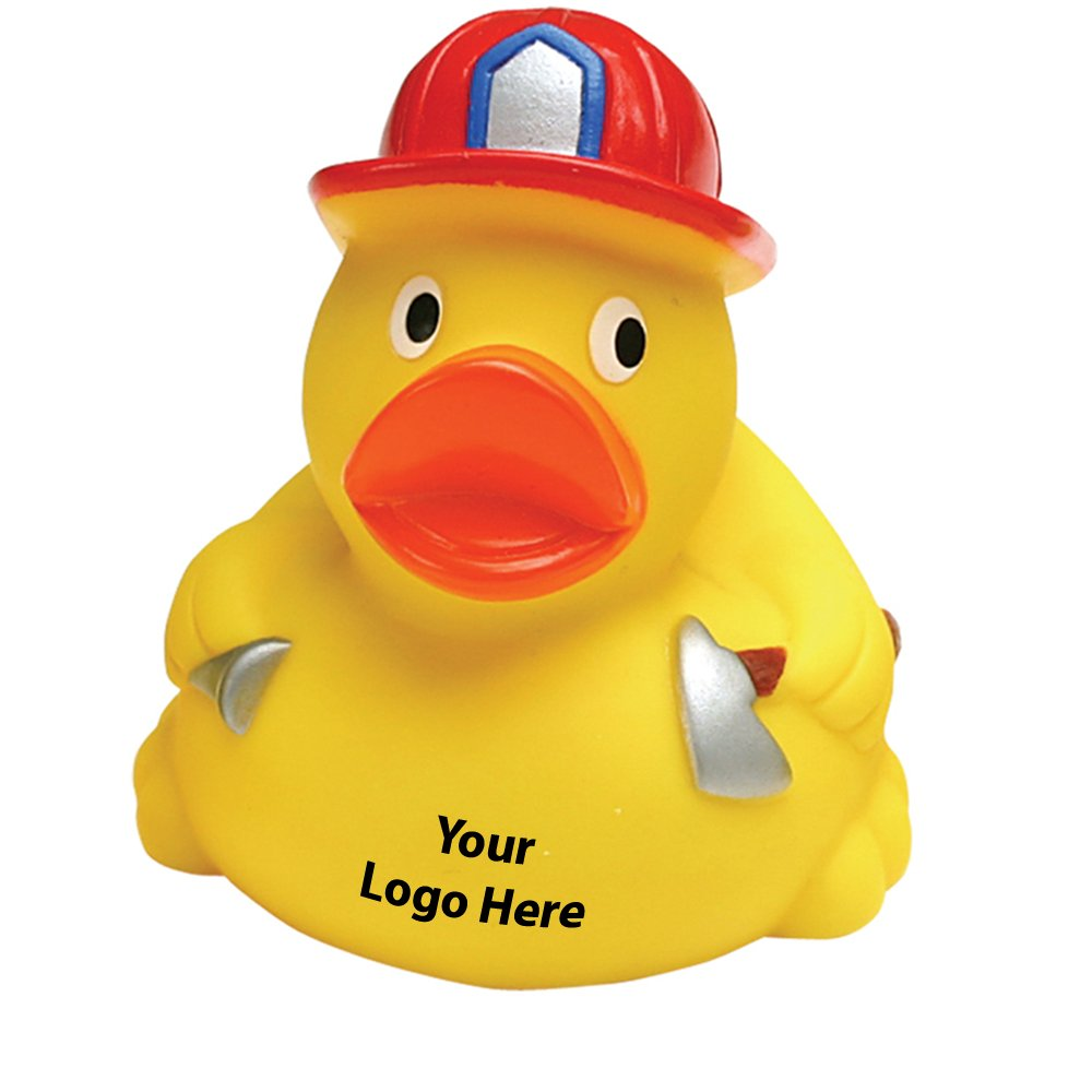 Fireman Rubber Duck - 100 Quantity - $3.25 Each - PROMOTIONAL PRODUCT / BULK / BRANDED with YOUR LOGO / CUSTOMIZED