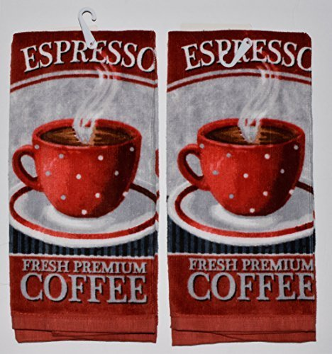 Espresso Coffee Themed Kitchen Towels 2-Pack