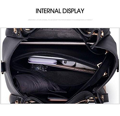 Bee Composite Panelled Women Handbag Bag 2PCS Leather Handles Bags Messenger Black Shoulder Diamonds Top Set Female 0XFqE