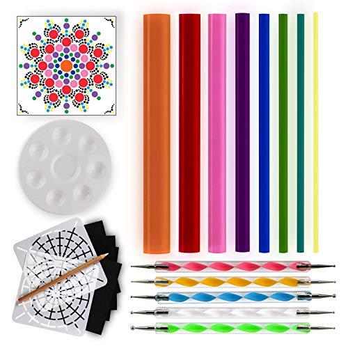 - Mandala Dotting Tools for Painting Rocks - Dot Painting Tools, Stencils, White Pencil, Paint Tray, Pattern