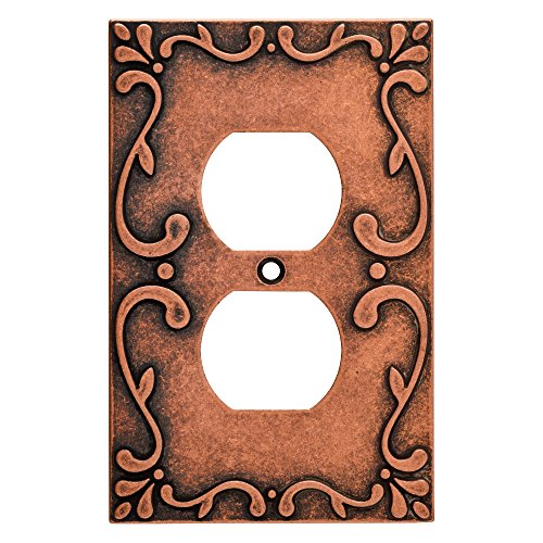 Franklin Brass W35071-CPS-C Classic Lace Single Duplex Wall Plate/Switch Plate/Cover, Sponged - Copper Wall Plate