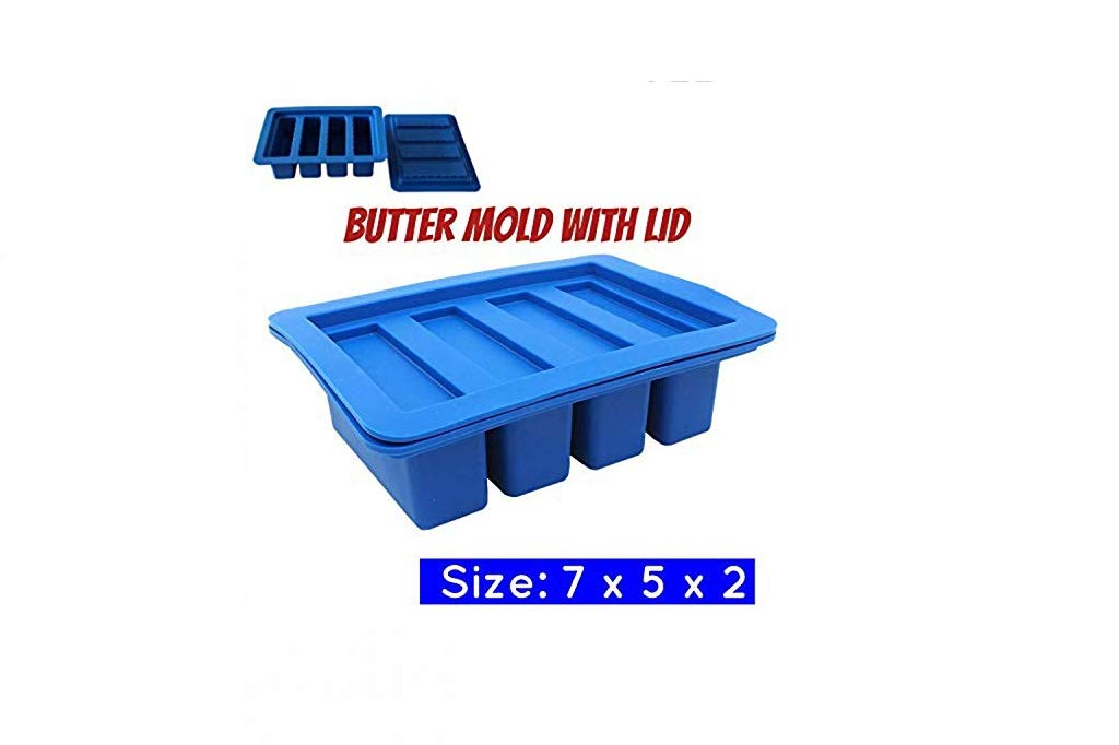 Large 4 Cavities Silicone butter mold,is great for chocolate,Pudding and Jello Shot Mold,Cheesecake, Bar, great mold for ice and for chocolate Gourmet Butter Mold(1, blue)
