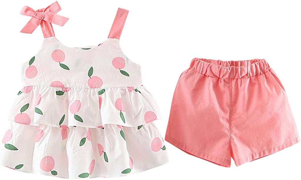 KONFA Toddler Baby Girls Fruit Ruffles Sleeve Tops and Shorts,Little Princess 2Pcs Outfits Summer Clothes Sets