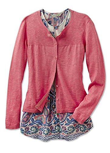 Orvis Women's Cotton/Linen Ribbed-shoulder Cardigan, Desert Rose, X Large