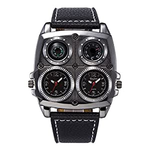 Aposon Mens Unique Large Face Analog Dual Time Bulky Quartz Business Casual Punk Watch with Compass and Thermometer (Decoration Purpose Only) - Black