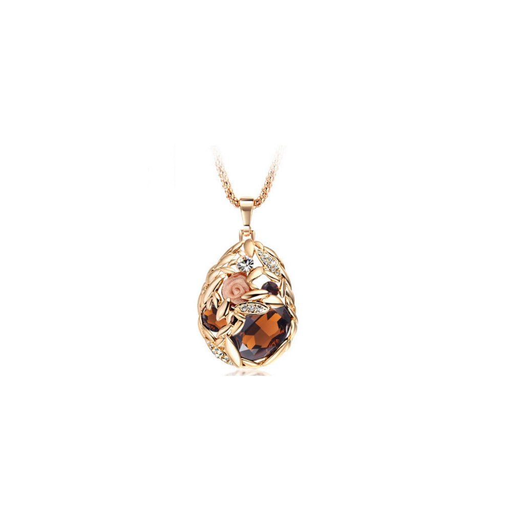 The Starry Night Champaign Shiny Crystal Drop Pendant Diamond Accented Rose Gold Plated A Flower Sweater Chain