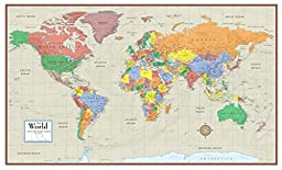 48x78 Huge World Contemporary Elite Wall Map Poster