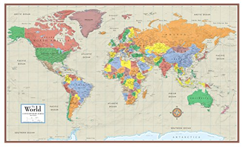 (Swiftmaps World Contemporary Elite Wall Map Poster Mural 24h x 36w (Paper Rolled))