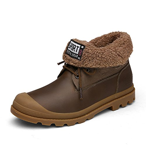 EnllerviiD Men Lace Up Foldable Cuff Duck Boots Baggy High Top Faux Fur Lined Snow Booties Brown Faux Fur Lined vk5eOkqoXQ