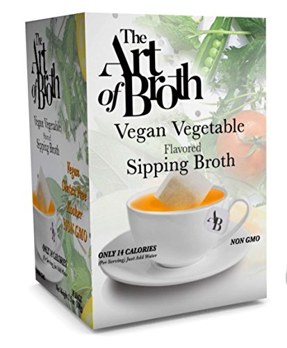 Flavored Broth - The Art of Broth Vegetable Broth, Vegan Vegetable Flavored Sipping Broth Bag, Non-GMO, Gluten-Free, Kosher (Pack of 20)