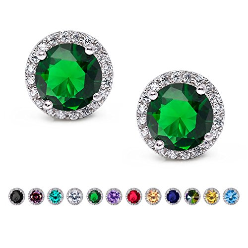 SWEETV Round Birthstone Stud Earrings with Cubic Zirconia Halo - Silver Plated Jewelry Gifts for Women & Girls, Emerald - Green Stud Earring Box