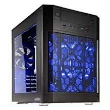 anidees AI-07BW Cube ATX Dual Chamber Design Computer Gaming Case with Blue LED Fans - Black Window