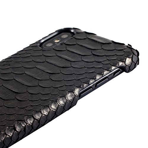 Luxury Case Hand Made from Genuine Python Leather Back Cover Cell Phone Protection Case For iPhone X (Python Edition - Black) by I-idea (Image #1)