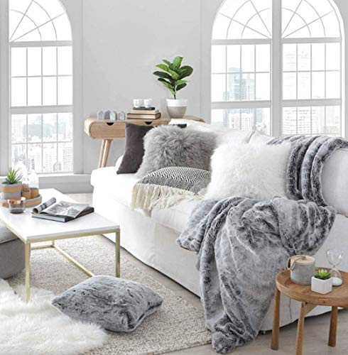 Double Sided Faux Fur Throw Blanket Silky Soft Oversized Afghan Machine Washable, Grey Striped Mink Chinchilla Shadow Fox 55 by 70 Inch (X-Long Iced Dream) (Throws Fur Real)