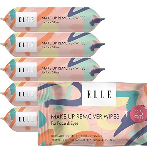Elle Makeup Remover Wipes - Hypoallergenic Facial Cleansing Wipes for Face and Eyes - Mascara Removing Cleansing Cloths