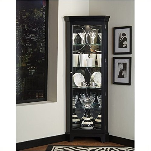 Oxford Wall Cabinet - Bowery Hill Oxford Black Corner Curio Cabinet