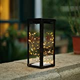 Solarbuy24 Metal Solar Lantern Lights Solar String Lights Solar Lights 30 Warm White LED Fairy String Lights Outdoor Decorative Table Lamp for Garden Indoor