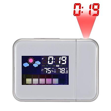 TiooDre Despertador con proyección, Gran Proyector de Techo Curvado de Acero pavonado (LED Radio FM Digital Radio Despertador con Radio Despertador ...