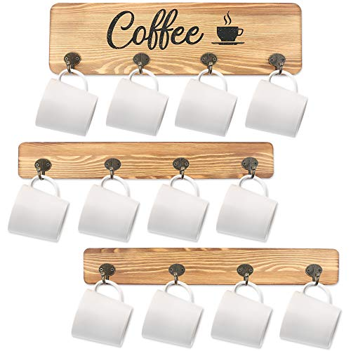 LotFancy Coffee Cup Holder, Wall Mounted Mug Rack with 12 Hooks, Farmhouse Wood Cup Organizer for Home, Office, Kitchen Display Storage Collection, Rustic Coffee Nook Décor