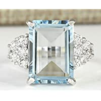 Fashion Women 925 Silver 7.14CT Aquamarine Ring Engagement Jewelry Size 6-10 (8)