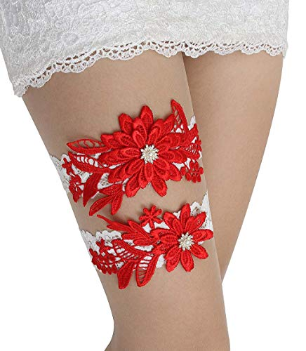 GARGALA Wedding Garters for Bride Bridal Lace Garter Set with Rhainestone Pearls (Red)