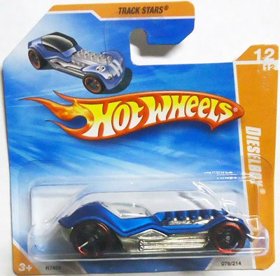 Hot Wheels 2010 Satin Blue DIESELBOY #76/214, Track Stars #12/12 (Short - Hot Card Stars Wheels