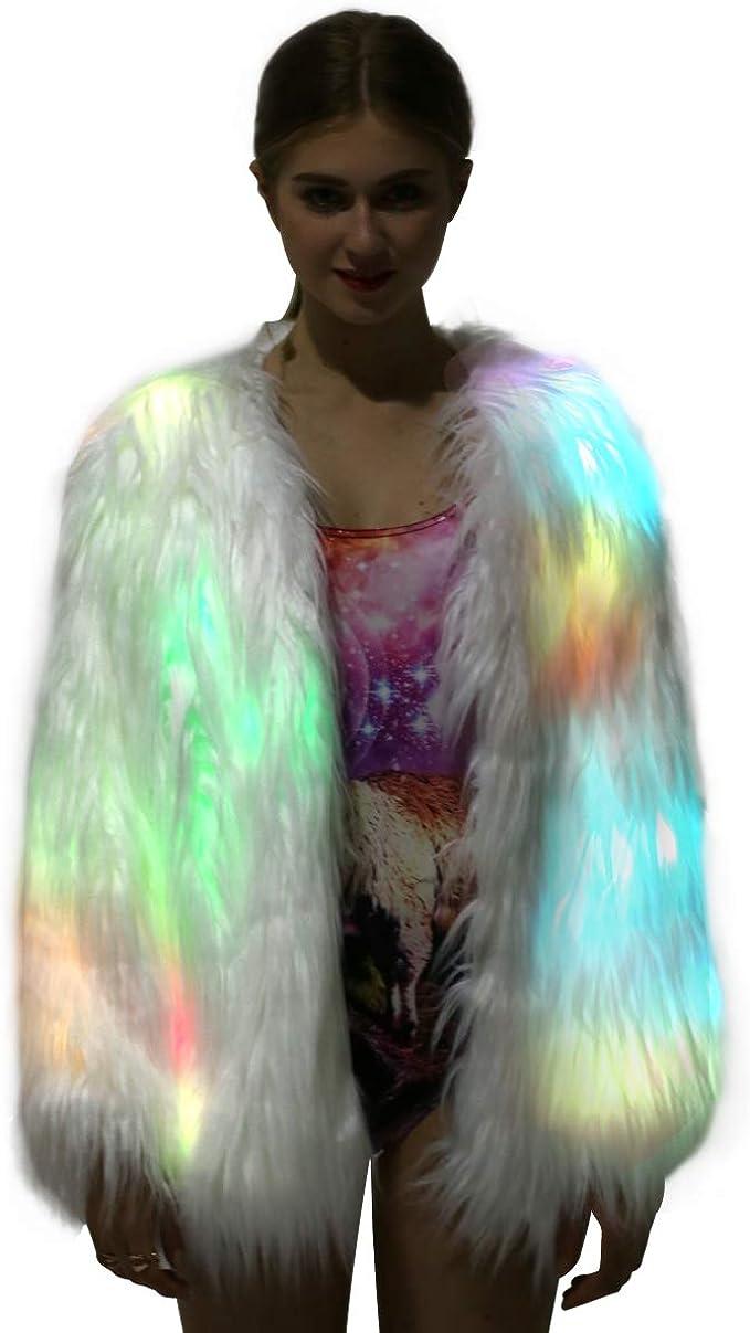 Burning Man Playa Jacket Size M Faux fur vest White fur Boho Coats silver/_white sequins