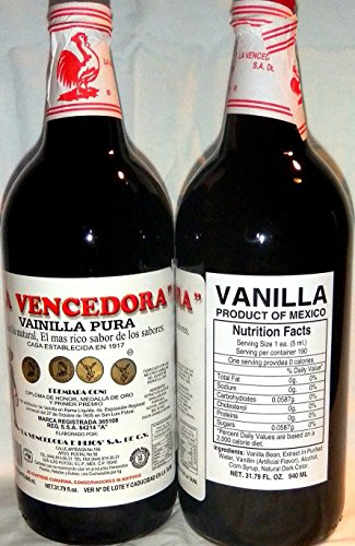 La Vencedora Pure Mexican Vanilla Extract 31oz - 1L Each 2 Glass Bottles Product From Mexico by La Vencedora (Image #1)