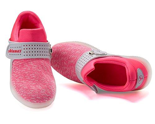 Shinmax Allument Des Chaussures, Chaussures Led Led Sneakers Respirant 7 Couleurs Chaussures Légères Pour Hommes Et Femmes, Chaussures Pour Enfants Rose