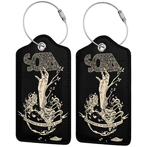 - SOJA Leather Luggage Tag Band Travel Accessories Suitcase Tags Identifiers Business ID Card2 PCS