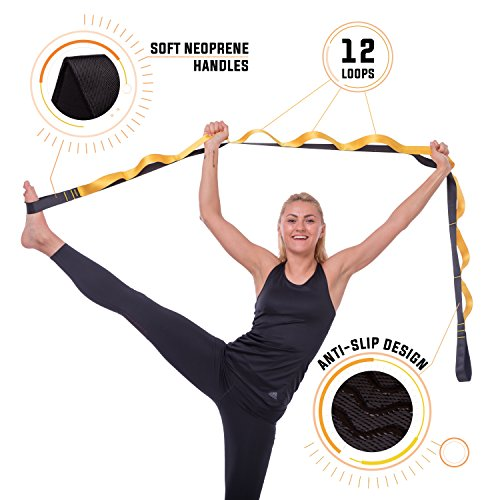 Tyrovim Yoga Stretching Strap With Loops For Physical Therapy And Flexibility With eBook & Carrying Bag