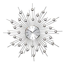 Deco 79 66965 Metal Wall Clock Wall Clock Featuring Star Burst