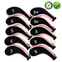 Aree Golf Club Covers,Neoprene Zippered Headcover For Golf Club Iron Head Covers Set For All Standard Clubs 10 PCS