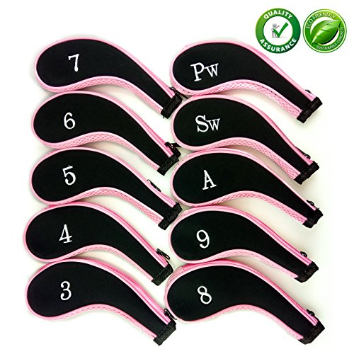 Golf Club Head Covers,Zippered Headcovers for Golf Clubs Iron Covers with Interchangeable Number Tag 10Pcs Aree (Headcover Pink)