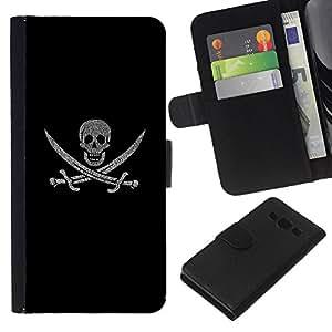 """JackGot ( Pirate Skull & Swords"""" ) Samsung Galaxy A3 la tarjeta de Crédito Slots PU Funda de cuero Monedero caso cubierta de piel"""