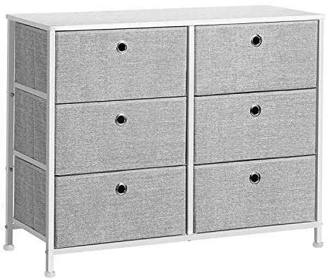 SONGMICS 3-Tier Closet Drawer, Storage Dresser with 6 Easy Pull Fabric Drawers and Wooden Tabletop for Closet, Nursery, Dorm Room, 31.5 x 11.8 x 24.8 Inches, Light Gray and White ULTS23W
