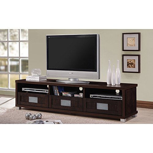 Gerhardine 3 drawers with Frosted-Glass Fronts TV Cabinet – Espresso