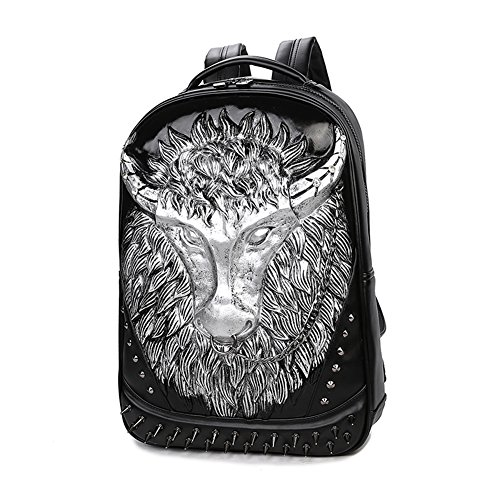 Price comparison product image Mery Wa Unisex 3D Ox Print Backpack PU Leather Rucksack Shoulder School Laptop Bag, Silver(3086)