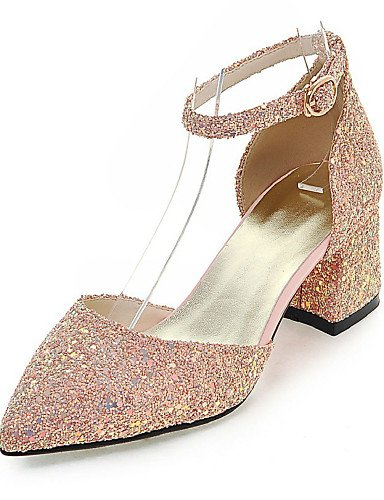 LFNLYX Zapatos de mujer-Tacón Robusto-D'Orsay y Dos Piezas / Puntiagudos-Sandalias-Vestido / Casual / Fiesta y Noche-Purpurina-Negro / Rosa / Oro Black