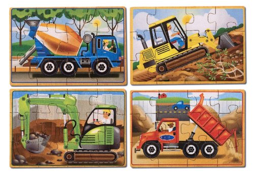 Melissa & Doug Construction Vehicles 4-in-1 Wooden Jigsaw Puzzles (48 pcs)
