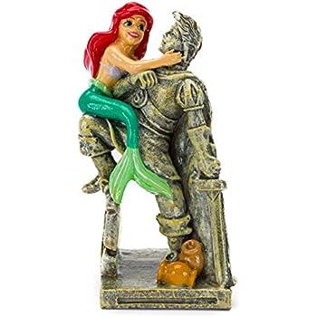Penn-Plax Disneys Little Mermaid Ariel with Eric Statue Aquarium Ornament, Medium