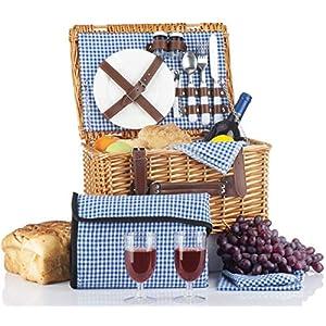 Picnic Basket Set – 2 Person Picnic Hamper Set – Waterproof Picnic Blanket Ceramic Plates Metal Flatware Wine Glasses S/P Shakers Bottle Opener Blue Checked Pattern Lining Picnic Set | Picnic Tote