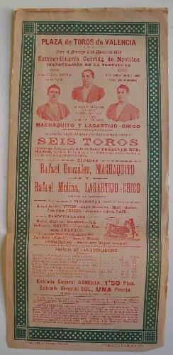 CARTEL Plaza de Toros de Valencia - Marzo 1899 - CORRIDA de ...