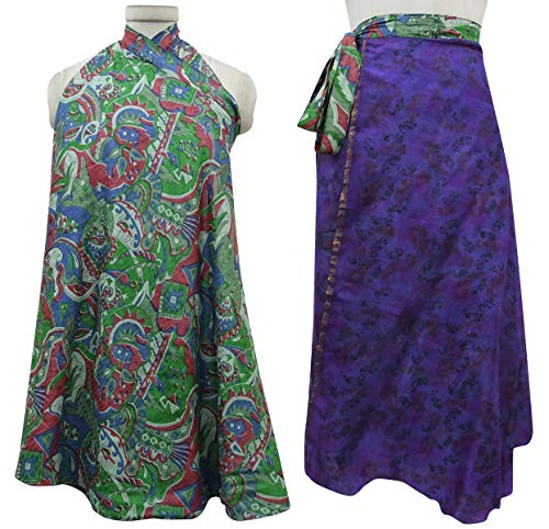 Wrap Purple Femmes Green Les Beach Summer Vintage Dark Saree amp; Rouge Check Dress rversible Imprimer Indianbeautifulart Pure Soie CHTTxwq