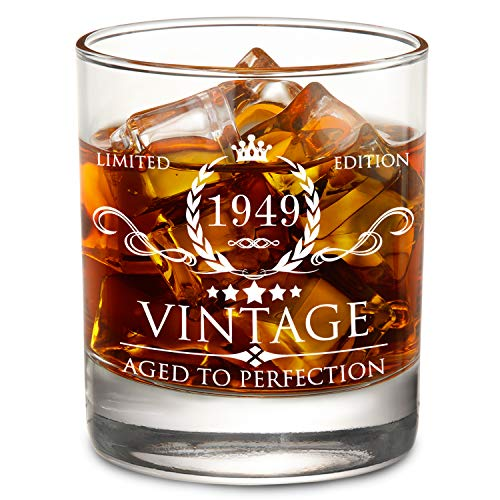 (1949 70th Birthday Gifts for Men and Women Lowball Whiskey Glass - Vintage Funny Anniversary Gift Ideas for Mom, Dad, Husband, Wife - 70 Years Gifts, Party Supplies, Decorations for Him or Her - 11oz)