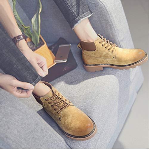Ammortizzazione Martin Confortevole Suola all'abrasione Pizzo Uomo Inverno Round Toe Stivali Scarpe Autunno Europeo Cachi Stile Resistente 5fIwxqA
