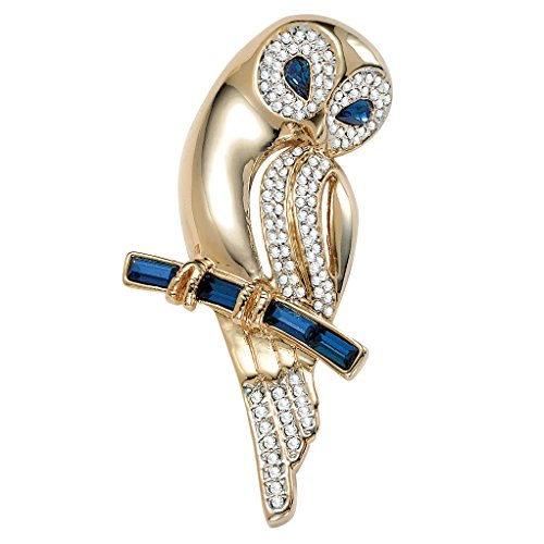 Blue and White Simulated Crystal Yellow Gold Tone Owl Pin